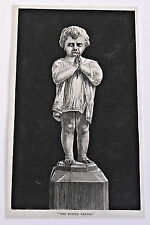 1883 magazine engraving ~ THE FORCED PRAYER from sculpture of sad child praying