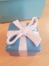 "Tiffany & Co Classic Small Blue Bow Box Porcelain Jewelry Trinket 2.25"""