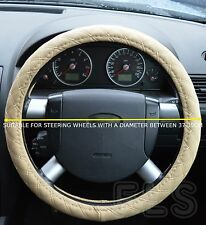 UNIVERSAL FIAT FAUX LEATHER LOOK STEERING WHEEL COVER BEIGE
