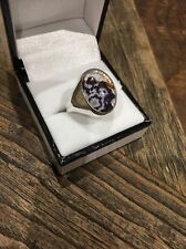 Rare Solid Silver Derbyshire Blue John Gents Ring Brand New Size W J377