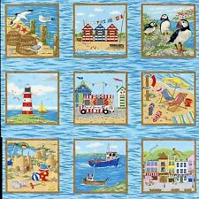 Seaside  2 Rows, 20  Squares 100% Cotton  Fabric by Nutex