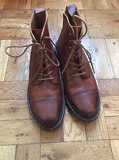 Polo Ralph Lauren CROCKETT JONES Light Brown Leather Dress Combat Boots 8.5B