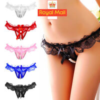 Lady Sexy Pearls Open Crotch Knickers Pearl Thongs G-String Underwear Panties