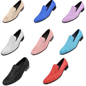 Mens Dress Shoes, Metallic Glitter Tuxedo Slip on Loafers for Men