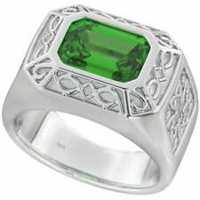 Mens Celtic 925 Sterling Silver Ring with Emerald-Cut Green Cubic Zirconia