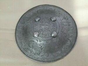 Medieval Hand Engraved Hunting Scene Iron Mughal Indo Persian Shield Sipar MPB