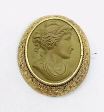 Antique Victorian Gold Filled Lava Cameo Large Pin