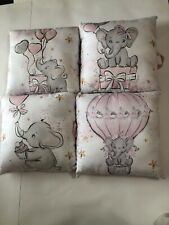 Baby Girl Nursery Elephant Crib Bedding Set Pink & White Gold Hearts 12 Pillows