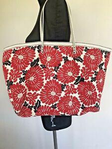 Vintage 70's FENDI Leather Canvas Floral Summer Tote Red White Shopper Handbag