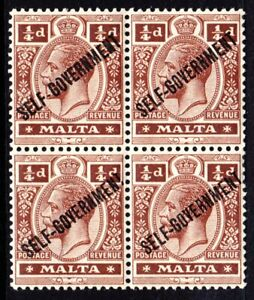 MALTA 1922 KGV SG114 1/4d BROWN SELF-GOVERNMENT OVPT MNH BLOCK OF FOUR