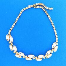 "Vintage Rhinestone Necklace Choker Gold Tone 15mm 16"""