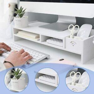 Wooden White Desktop Monitor Stand Rack Laptop Computer Screen Riser Home Office