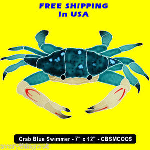 Blue Crab Mosaic Tile swimming pool Bath wall table bar patio drive walk way art