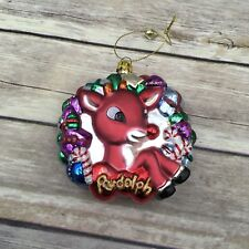 "Handsome 3"" Rudolph Reindeer and The Misfits 3"" Glass Wreath Ornament"