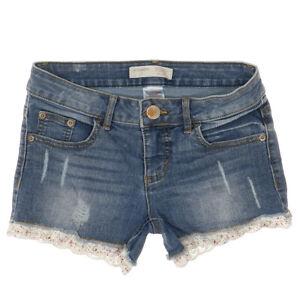 no boundaries junior jean shorts size 1 w26 distressed medium wash denim stretch