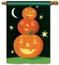 "Halloween JACK O LANTERNS Stacked Pumpkins SMILE HIGH Large Banner Flag 28""x40"""