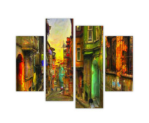 COLOURFUL OLD STREET PAINTING REPRINT FRAMED CANVAS PICTURES WALL PRINTS 4 PIECE