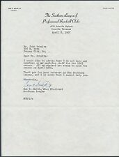 1965 Southern League Baseball Signed Letter W/ Envelope
