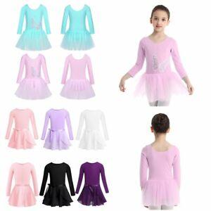 Kids Girls' Long Sleeves Ballet Dance Leotard Dress Gymnastics Dancing Costume