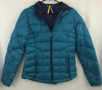 NWOT Lole Blue Down Puffy Purple Lined Full Zip Packable Hooded Coat Jacket S