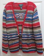 Lauren Ralph Lauren L Native American Design Cardigan Sweater Linen/Cotton