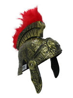 Gold Roman Helmet Spartan Greek With Red Feathers Armor Gladiator Adult Costume