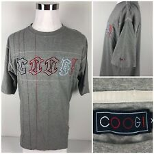 COOGI Mens XL Shirt Gray Spell Out Embroidered Rare EUC