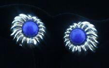 Tiffany & Co. Blue Lapis Lazuli Sterling Silver Flower Earrings Large