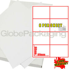 2000 Sheets Of Inkjet Laser Labels - 8 Per Sheet Page