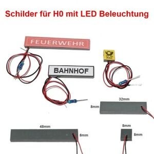 Sign With LED Lighting For H0 Illuminated Police, Fire Brigade, Station, Post