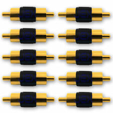 10X Gold RCA/Phono Audio/Video Male to Male Connector/Coupler Gender Changer LOT