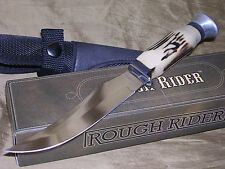 STAG HUNTING BOWIE KNIFE W/ SHEATH CASE FIXED BLADE RR !