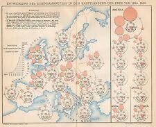 B6193 Sviluppo rete ferroviaria nel mondo - Carta geografica del 1901 - Old map