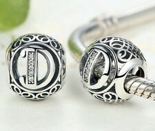hot letters D European Silver CZ Charm Beads Fit sterling 925 Bracelet Chain #AD