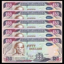 Lot 5 Pcs, Jamaica 50 Dollars, 2017, P-New, Hybrid, Unc