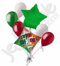7 pc Viva Mexico Flag Balloon Bouquet Party Decoration Cinco Mayo 5th Green Red