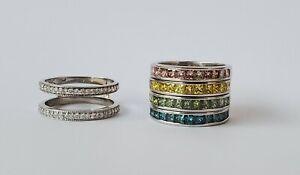 Stack Ring Set Sophia Fiori White+ Colored Diamond Bands interchangable Victoria