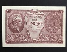 Italy Cinque Lire 5 Lire Italian Bank Note WWII Bank Note November 1944