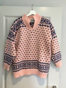 Dash Women's !980's Jumper. Blue and Pink Patterned Knit. Large.