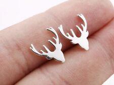 New Stocking Filler Boho Luxury Christmas Silver Stag Reindeer Stud Earrings