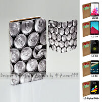 For LG Series Mobile Phone - Drink Cans Theme Print Wallet Phone Case Cover