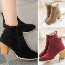 Womens Side Chunky Boots High Closed Heel Ankle Shoes Block PU Leather Toe LG