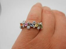 Gorgeous EFFY Solid 14K White Gold Multi Sapphire & Diamond Band Ring Size 9