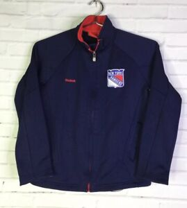 Reebok New York Rangers NHL Hockey Boys Size 8 Small Full Zip Track Jacket Blue