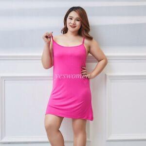 Women Cami Full Slip Spaghetti Strap Camisole Mini Dress Scook Neck Nightgown