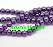 50 x glass beads purple imitation pearl loose spacer 8mm jewellery craft jewelry