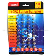 40 PCS Assorted Alkaline Batteries Set Button Cell Watches Calculators Cameras