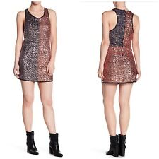 0187828d1dc One Teaspoon Scarface Sequin Dress Bronze Silver Woman Size S Party Evening