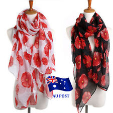 Women Ladies Poppy Print Floral Scarf Remembrance Poppies Scarves Wrap Shawl BO