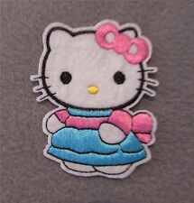 Hello Kitty Iron On or sew on Patch, Kids Cartoon patch / pink bow 7cm x 5.5cm